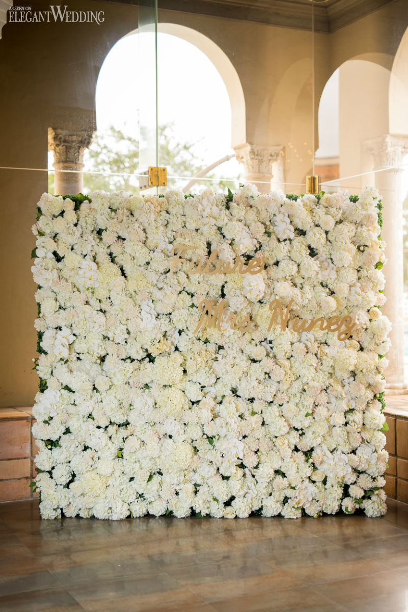 White Flower Wall For A Bridal Shower
