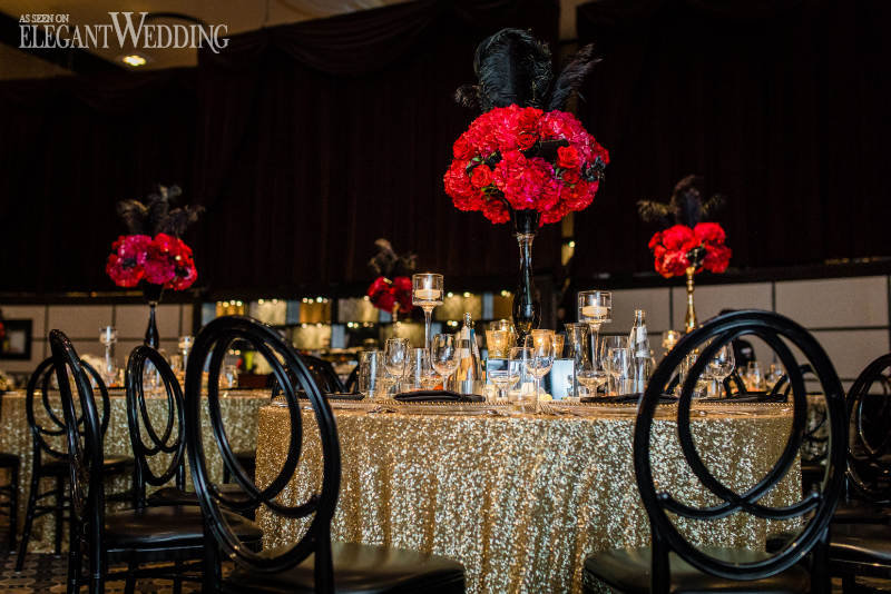 Red and Black Hollywood Wedding Theme