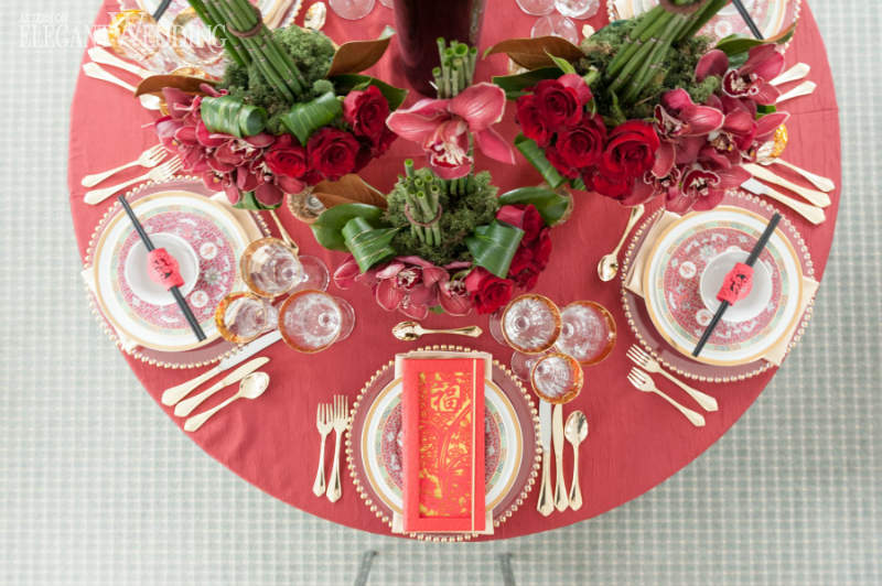Red Asian Wedding Table Setting