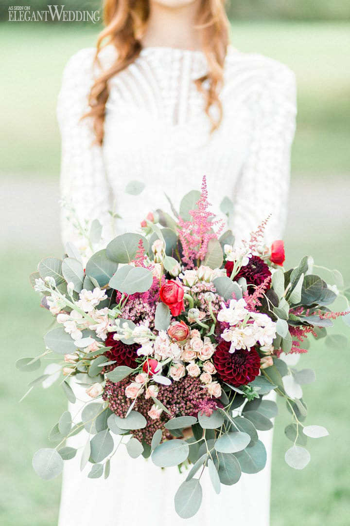 Red Bridal Bouquet With Greenery