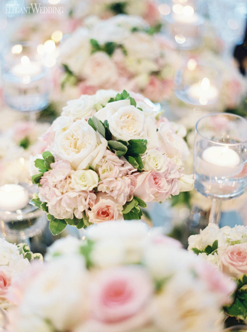 Pale Pink Peony and Rose Centrepieces