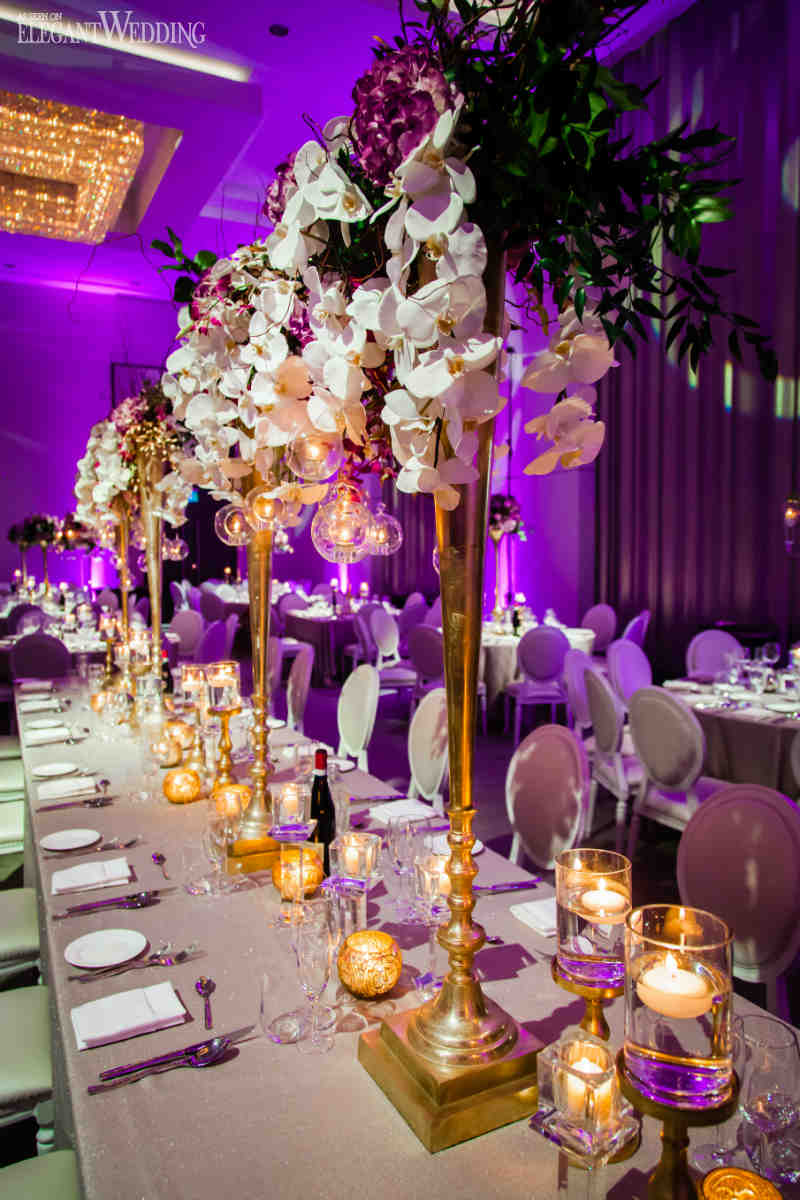 Purple and Gold Wedding Centrepieces