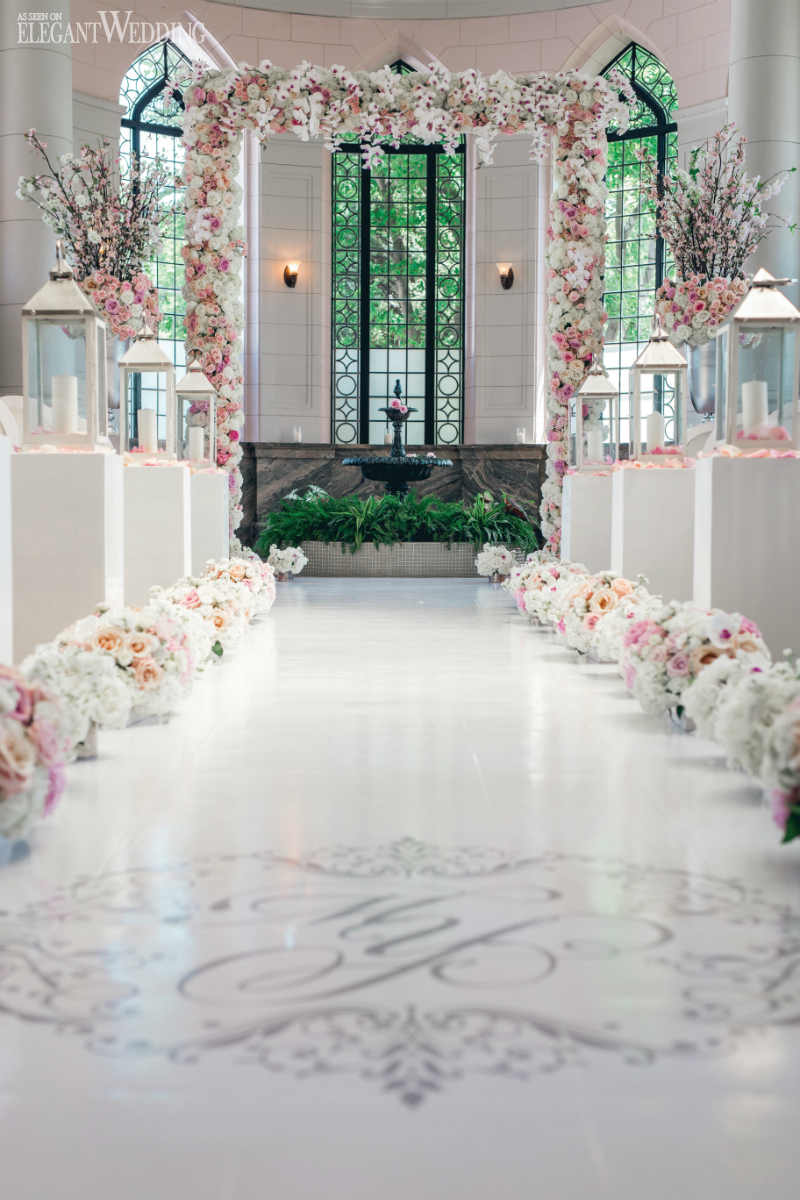 Pink and White Floral Arch