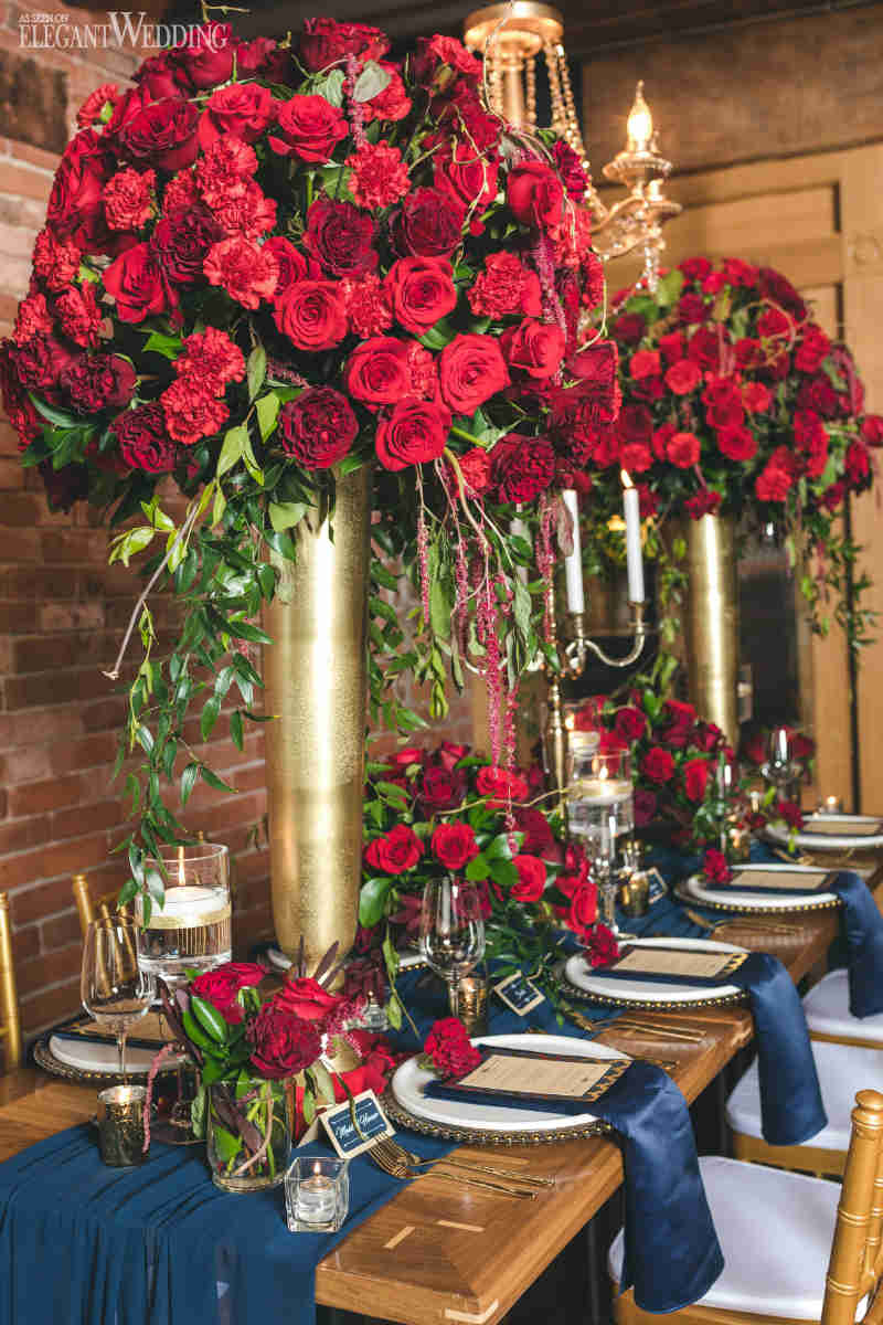 Tall Red Rose Centrepieces