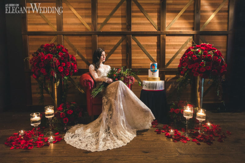 Romantic Red Rose Ceremony Flowers