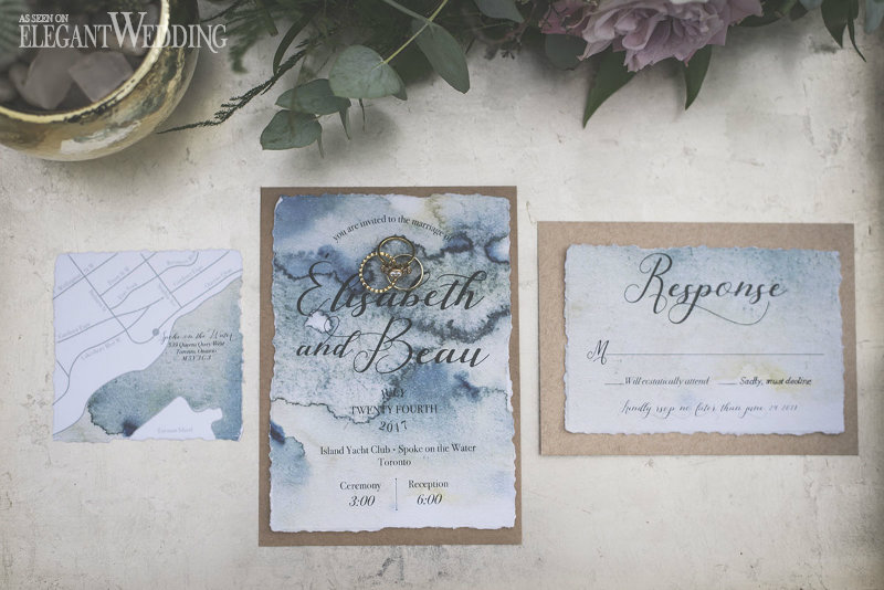 Blue Watercolour Wedding Invitations