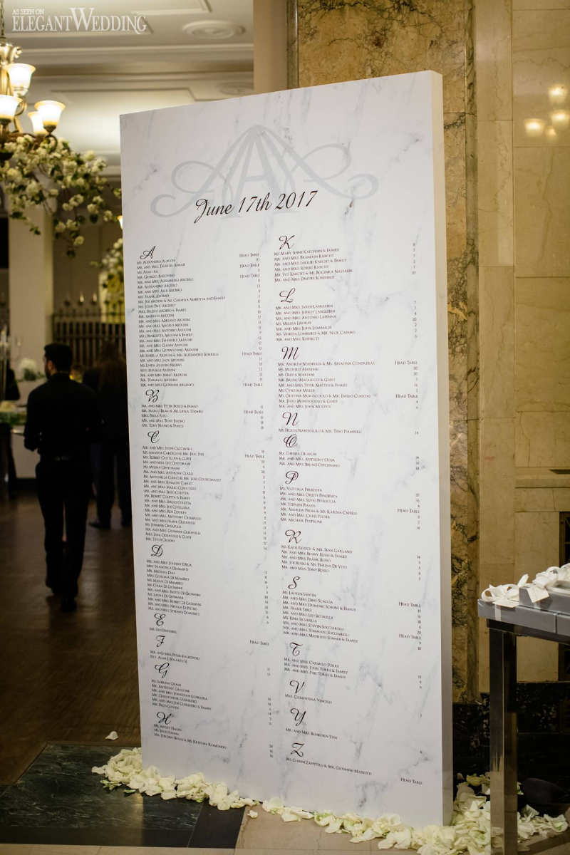 Marble Seating Chart | Magnolia Photo Studio