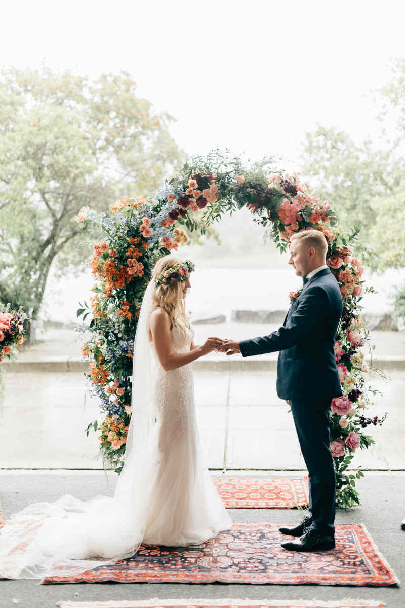 Peach and Pink Floral Arch