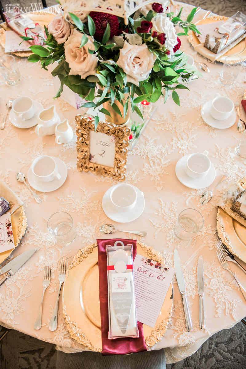 Burgundy and Gold Table Setting