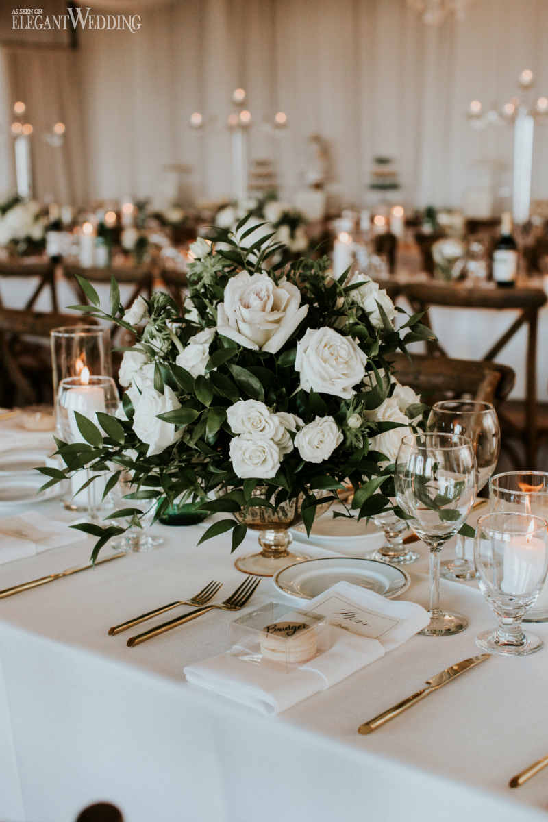 Green and White Wedding Centrepieces
