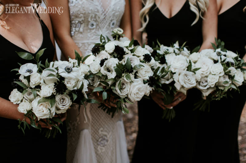 Black and White Bouquets