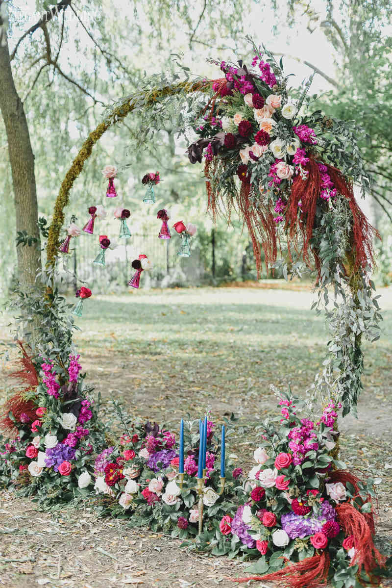 Rustic Elegance Wedding Theme Circular Floral Arch Ideas