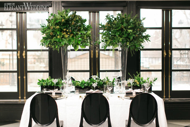 Black and White Wedding with Pops of Green