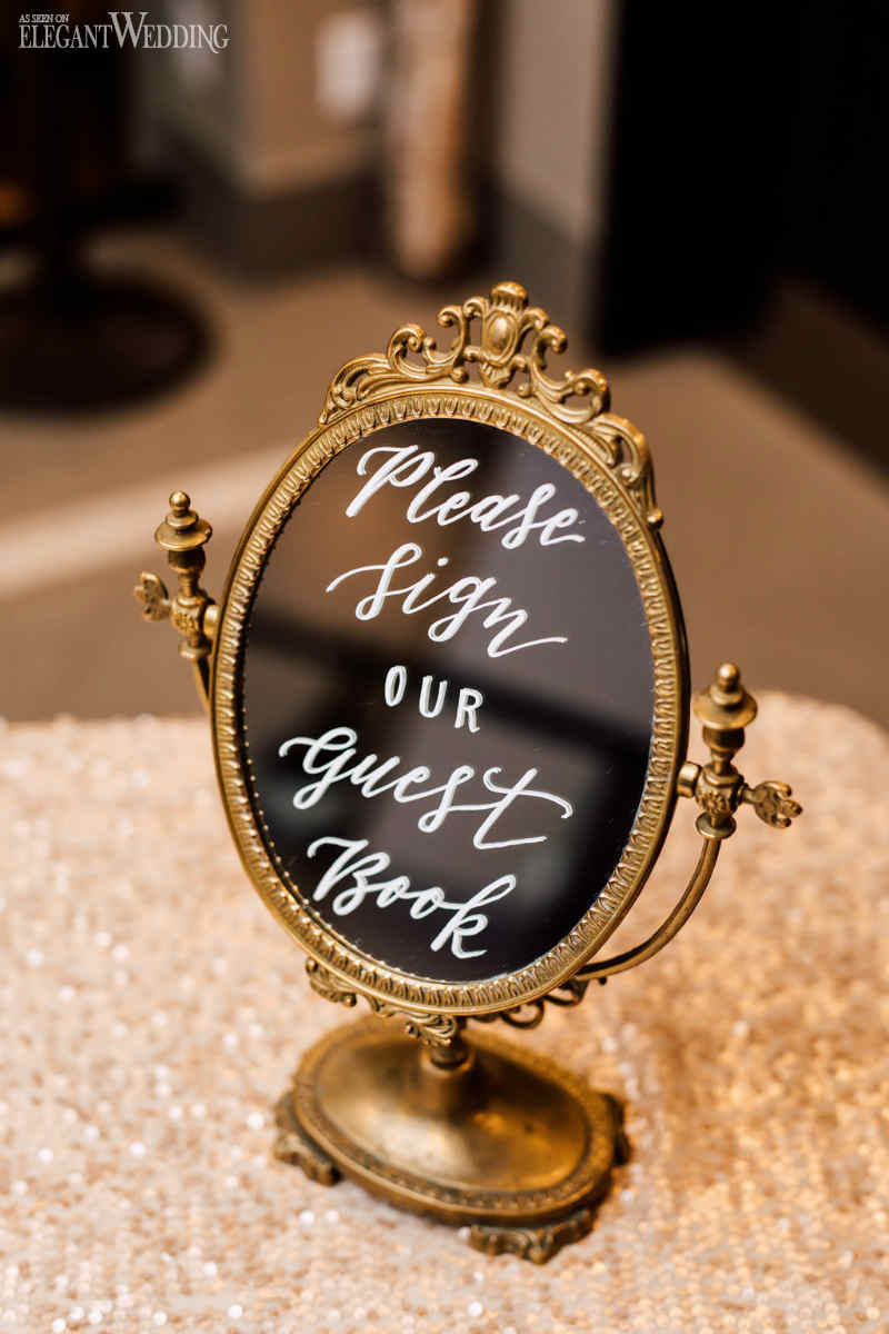 Gold Mirror Guest Book Sign