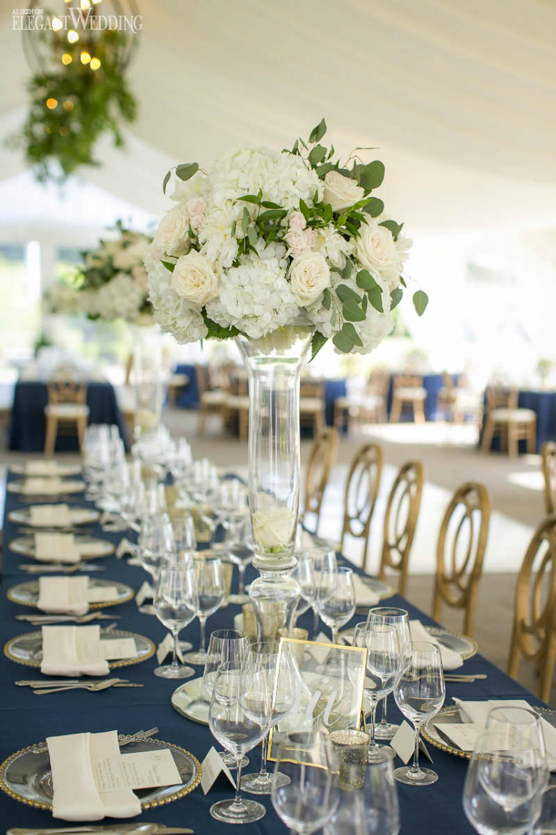 Green and White Centrepieces