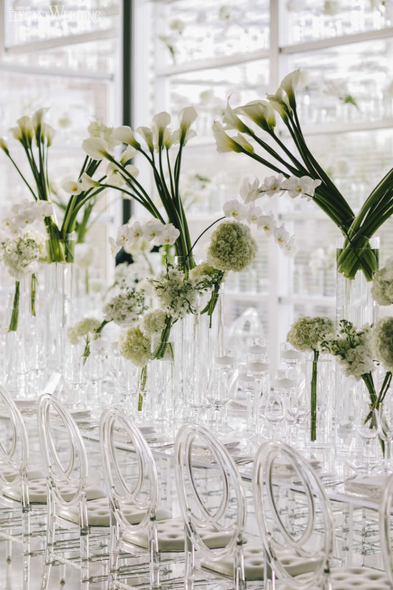 Modern White Wedding with Clear Decor