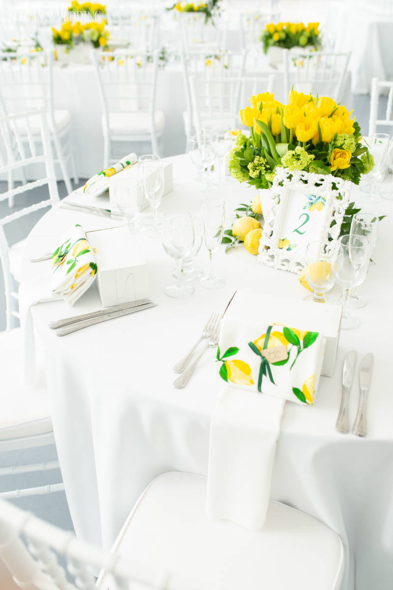 Yellow Bridal Shower Table Setting