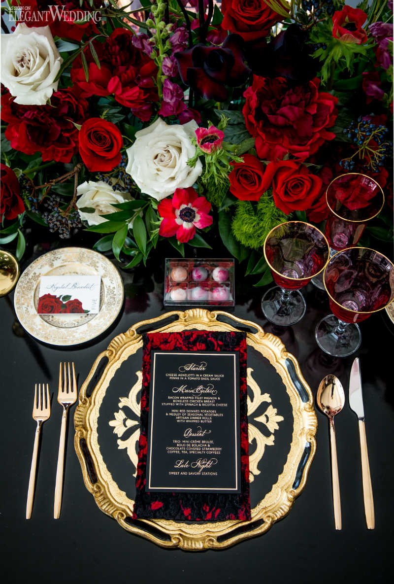 Red and Gold Wedding Table Setting
