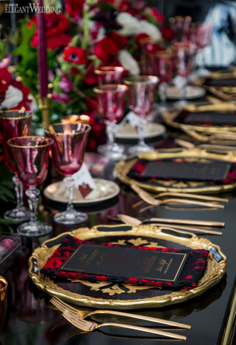 Black and Red Wedding Table Setting