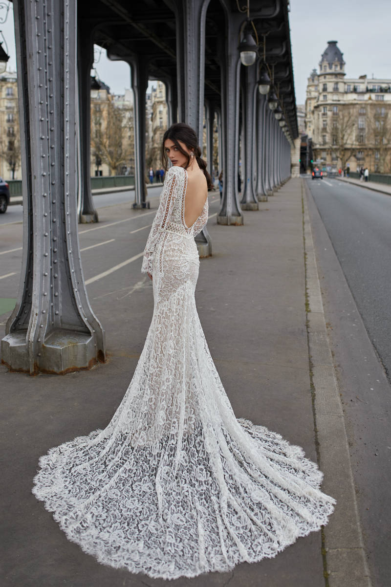 Lace Fit and Flare Wedding Dress with Sleeves