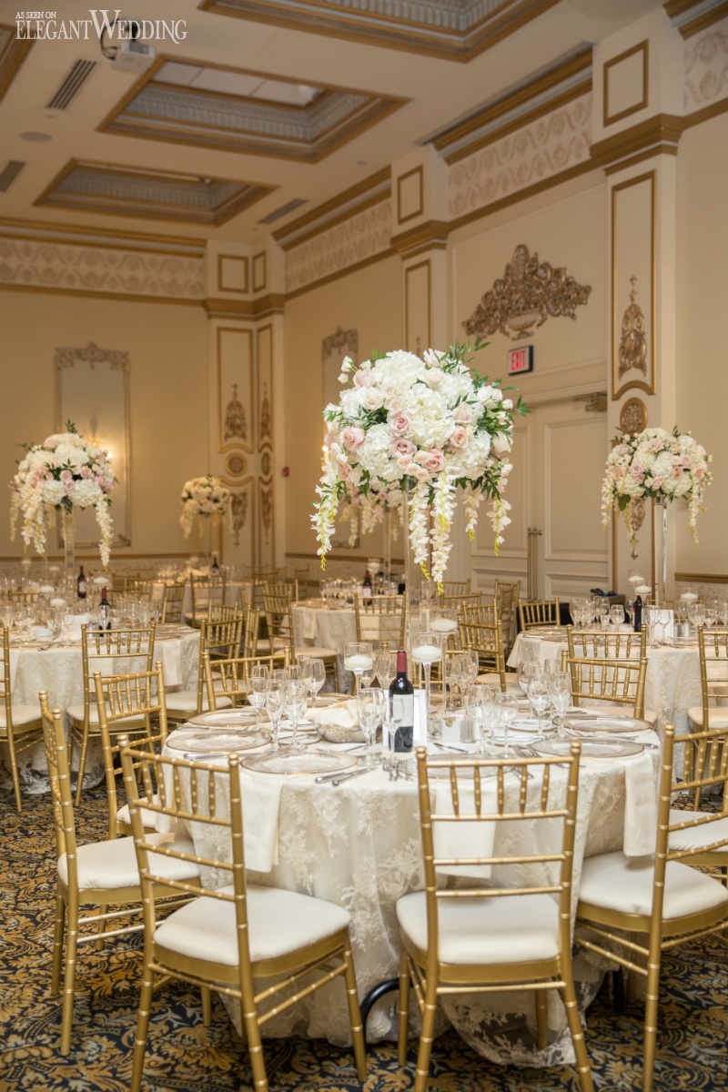 Blush and White Centrepieces