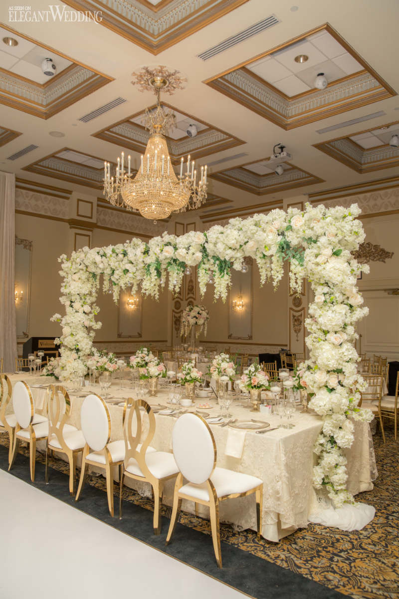 White Floral Arch Table Setting
