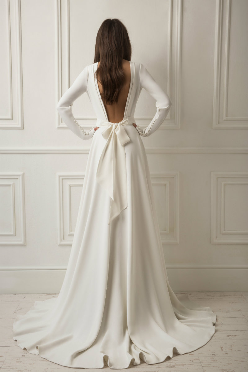 Crepe Wedding Dress with Bow
