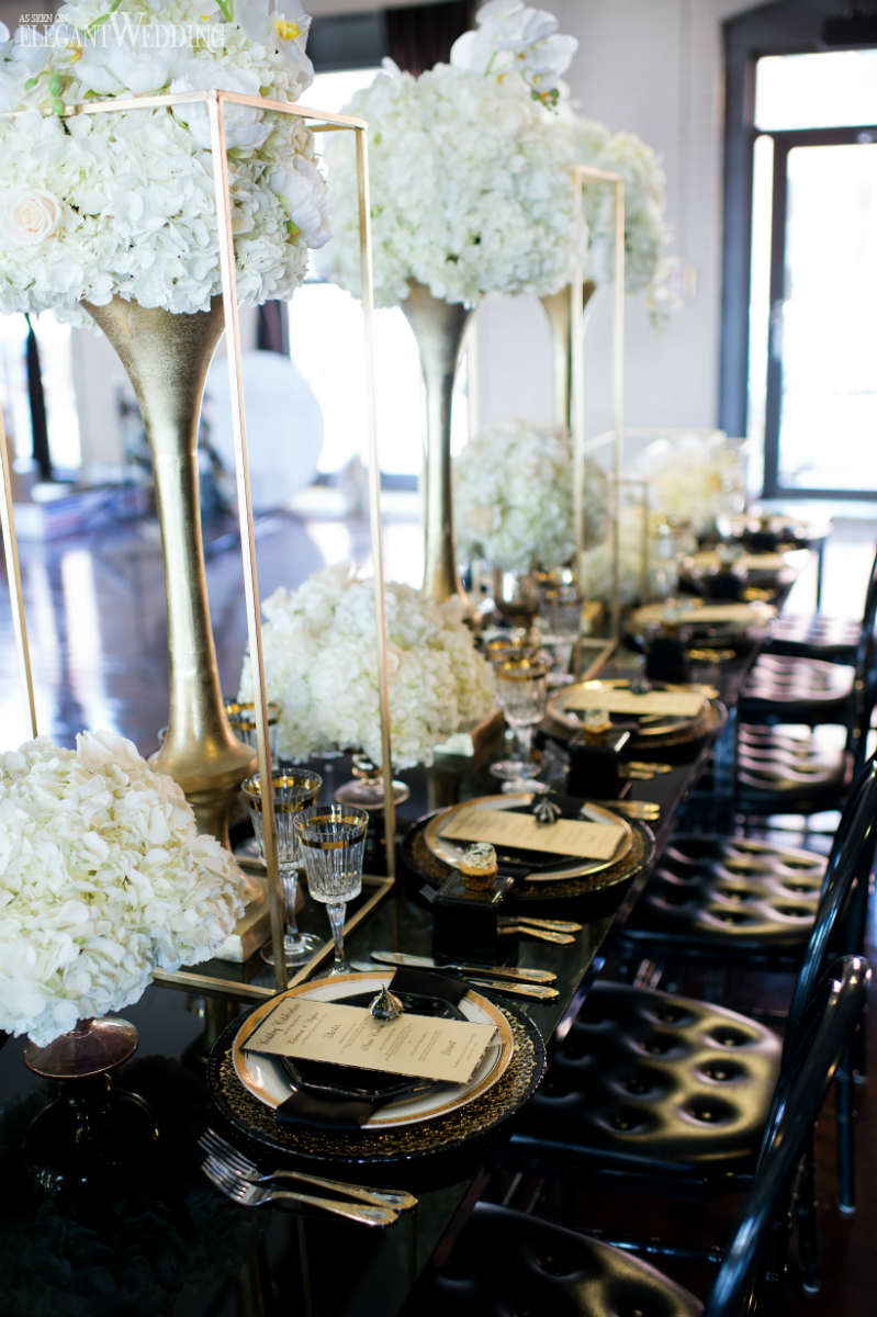 Black and Gold Wedding Table Setting
