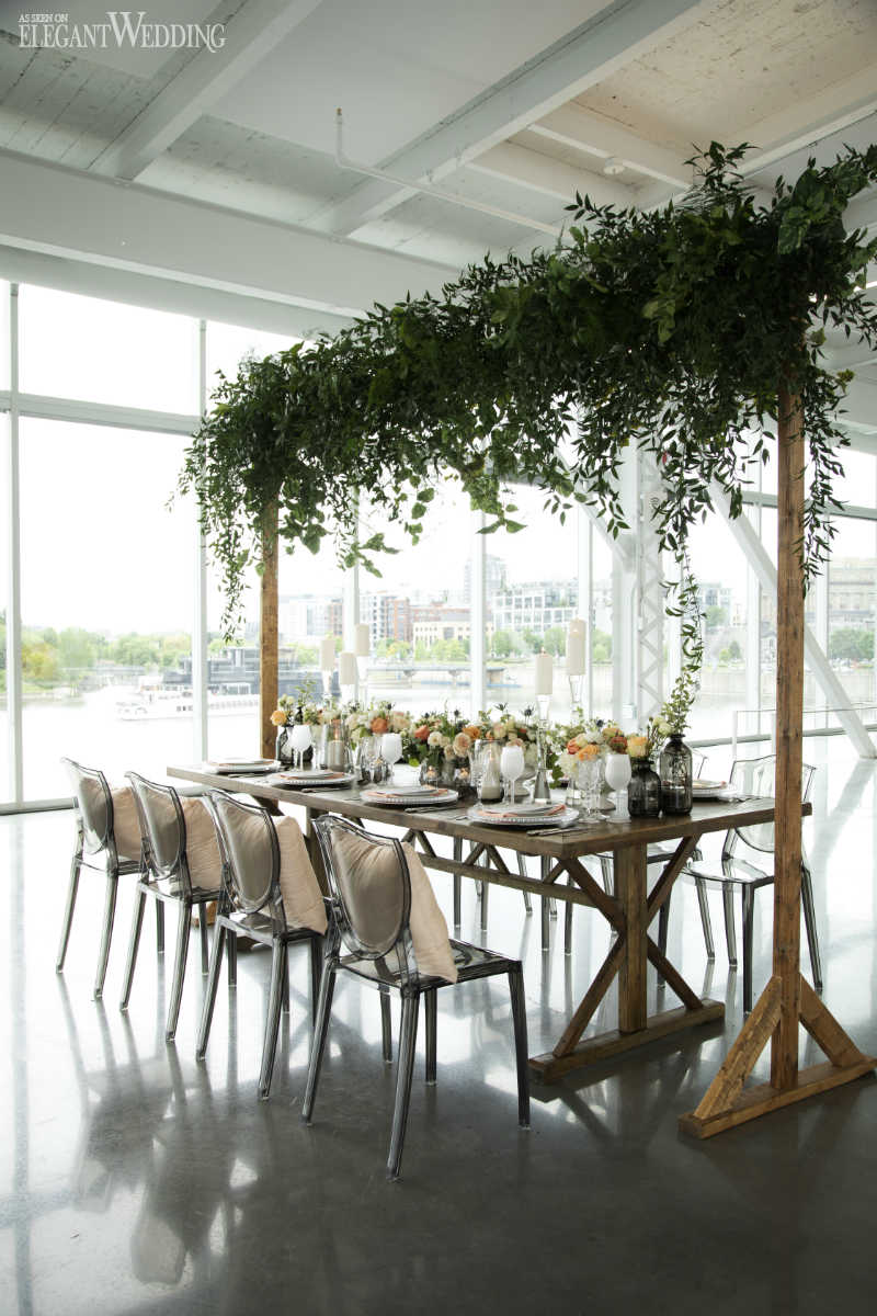 Greenery Canopy Wedding Table Setting