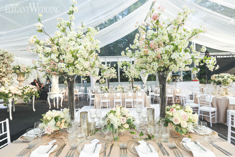 The Star Element Of Reception A Grand Cherry Blossom Arch Designed By Rachel Clingen Wedding Event Design Circling Bride And Groom At Their