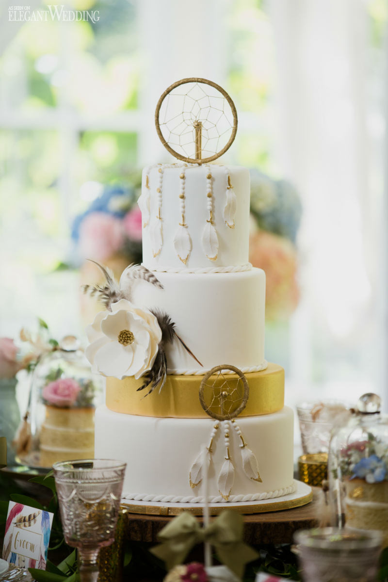 Boho Wedding Cake With Feathers and Dream Catcher