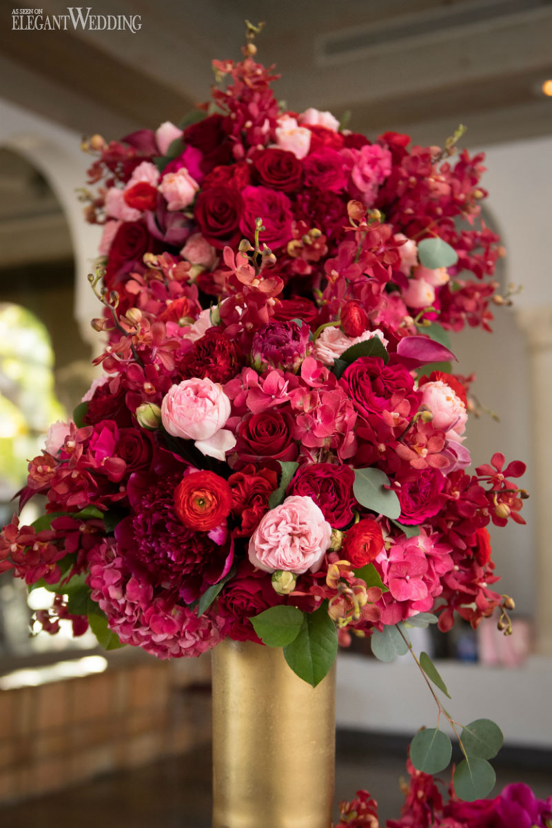 Red Wedding Flowers in Gold Vases