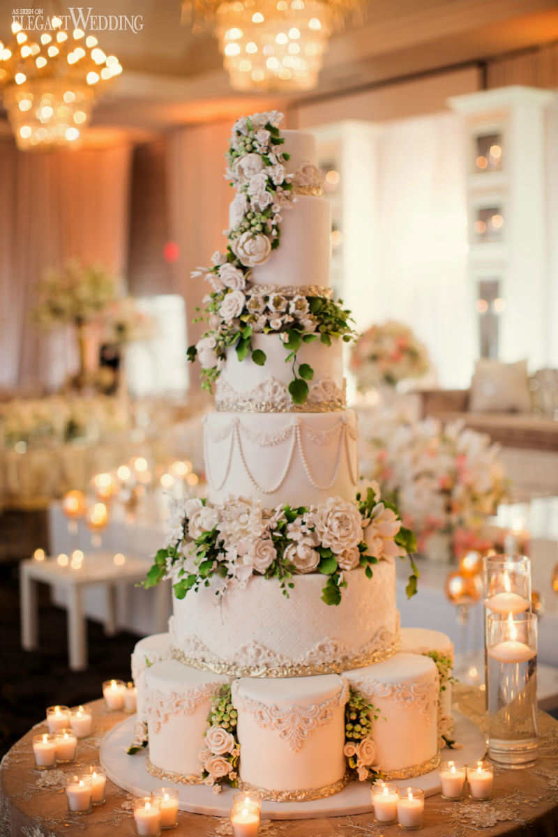 Six-Tier Wedding Cake With Sugar Flowers