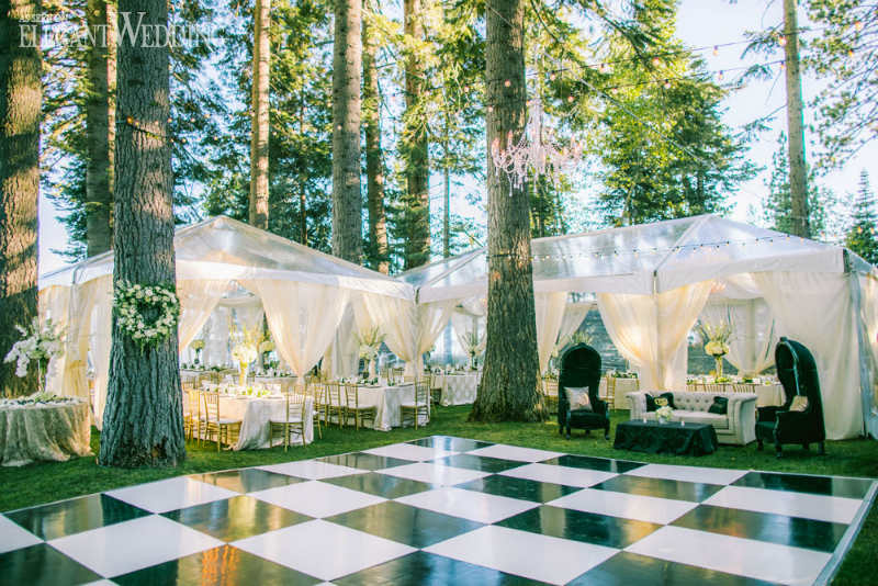 24 outdoor wedding decoration ideas elegantwedding black and white checkerboard dance floor junglespirit Image collections