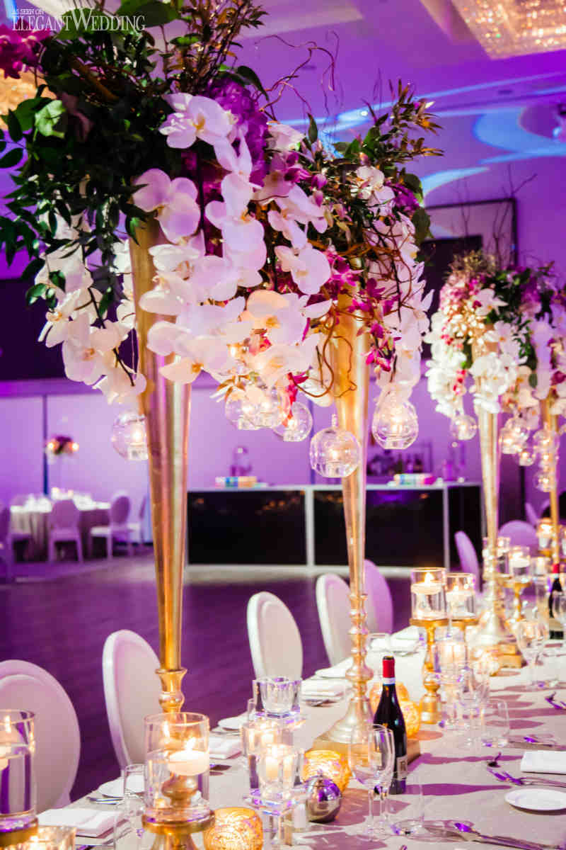 Purple and Gold Wedding Tables