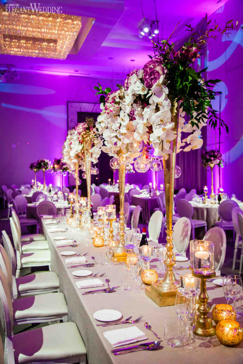 White Orchid And Purple Centrepieces Wedding Ideas