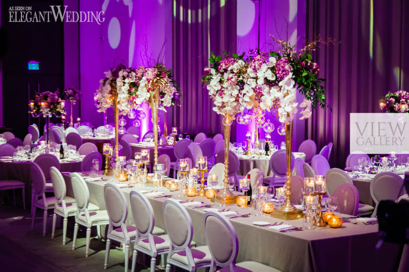 Glamorous Purple And Gold Ballroom Wedding