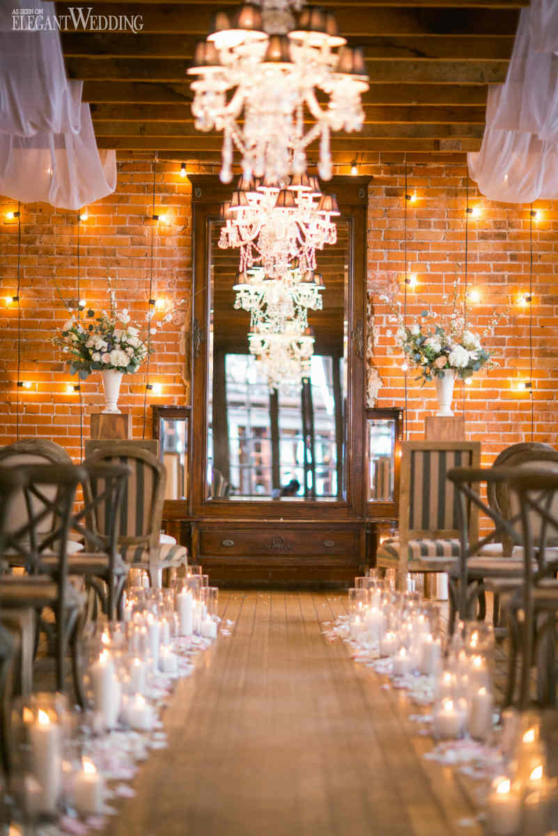 Vintage Wedding Ceremony with String Lights