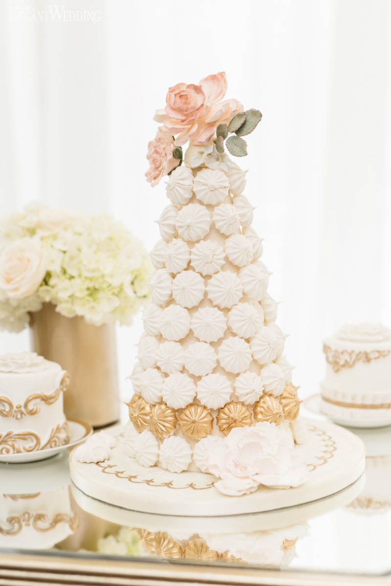 White and Gold Meringue Tower
