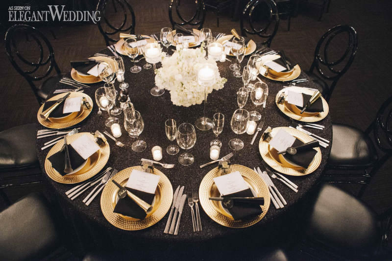 Black and Gold Table Settings