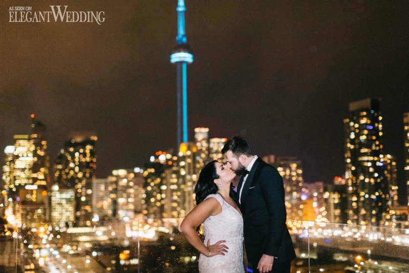 Toronto Skyline Wedding Kiss