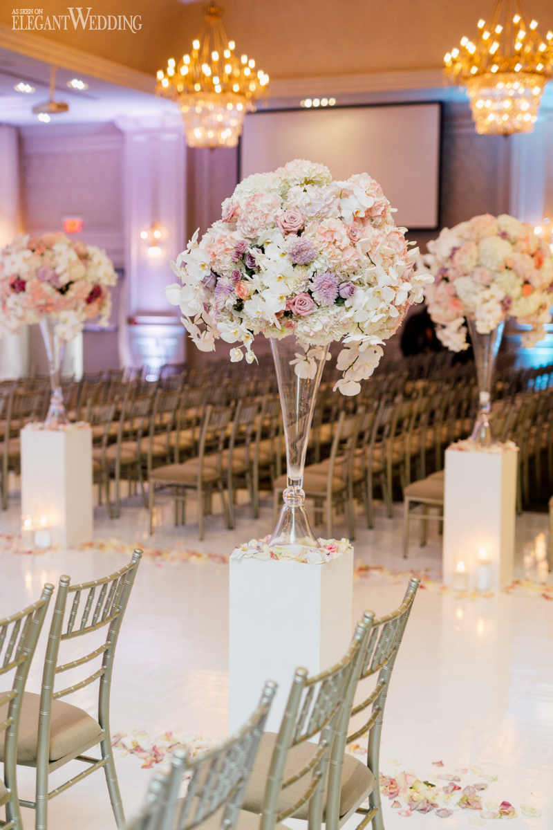 White Pedestal Ceremony Decor