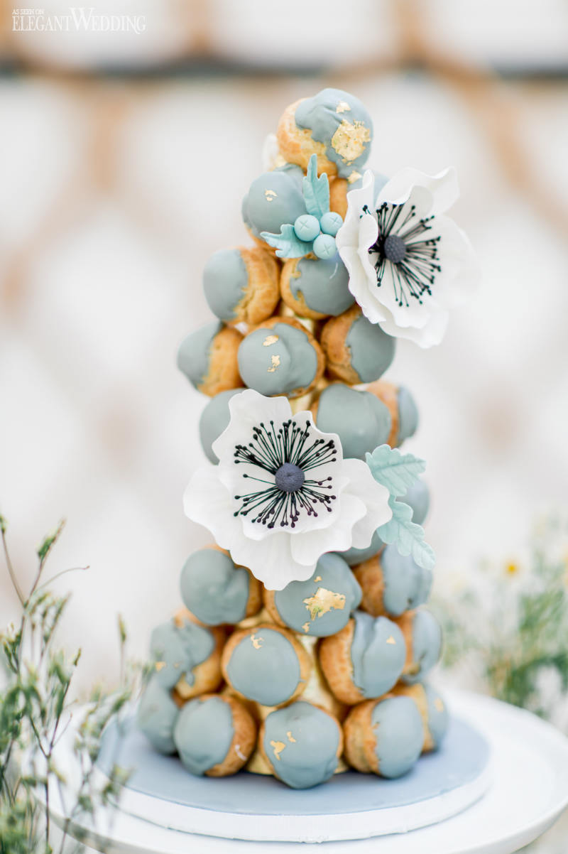 Blue Croquembouche Tower