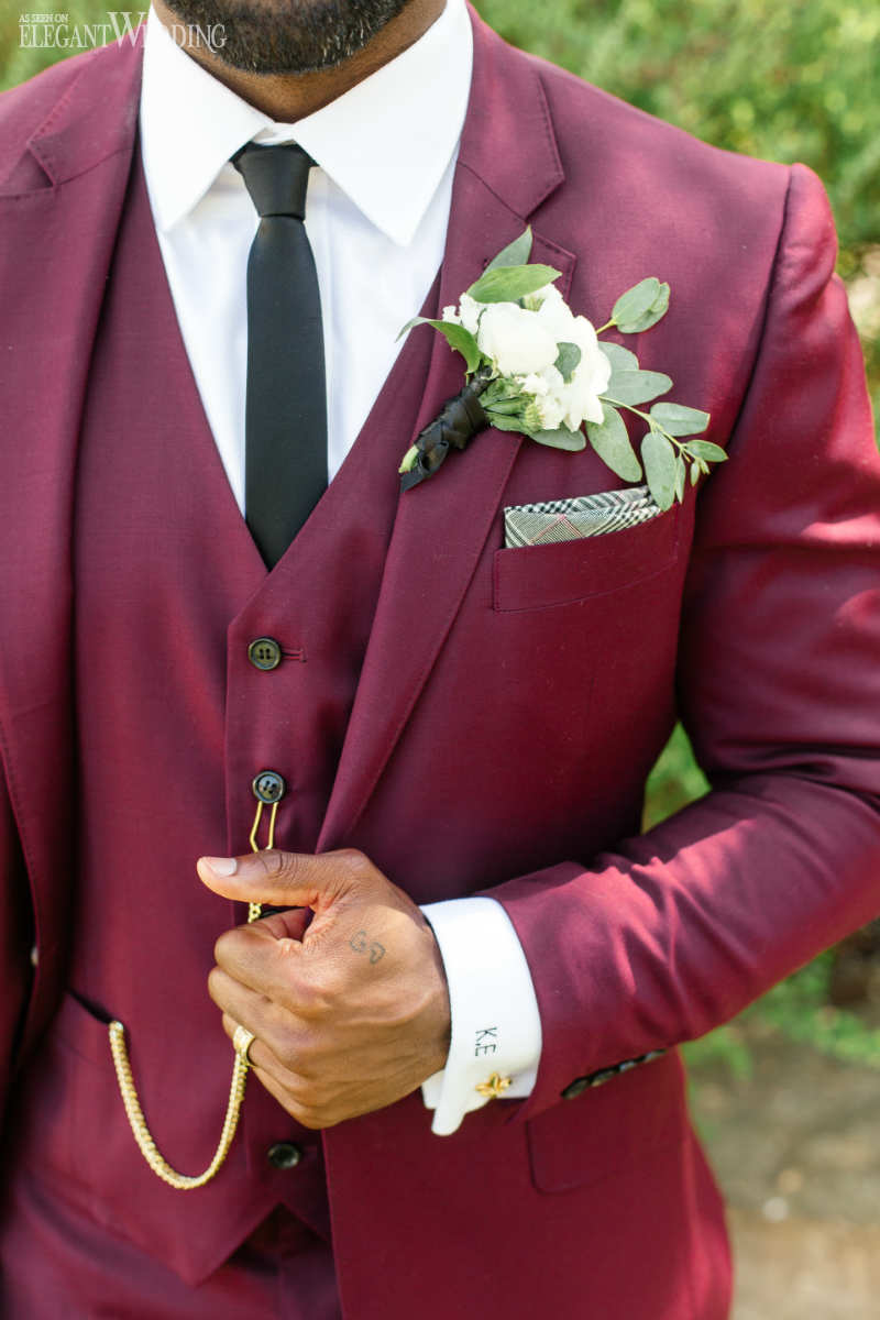 Burgundy Groom Suits