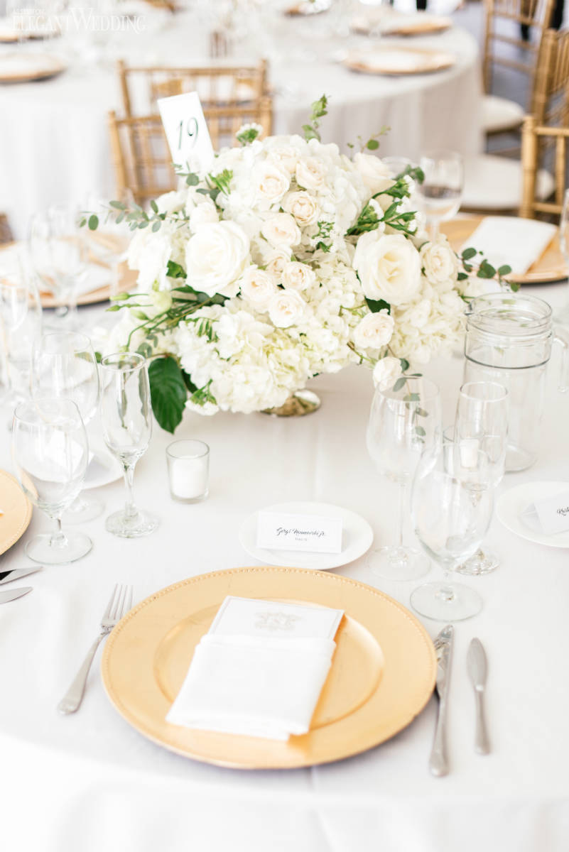 Green and Gold Wedding Table Setting