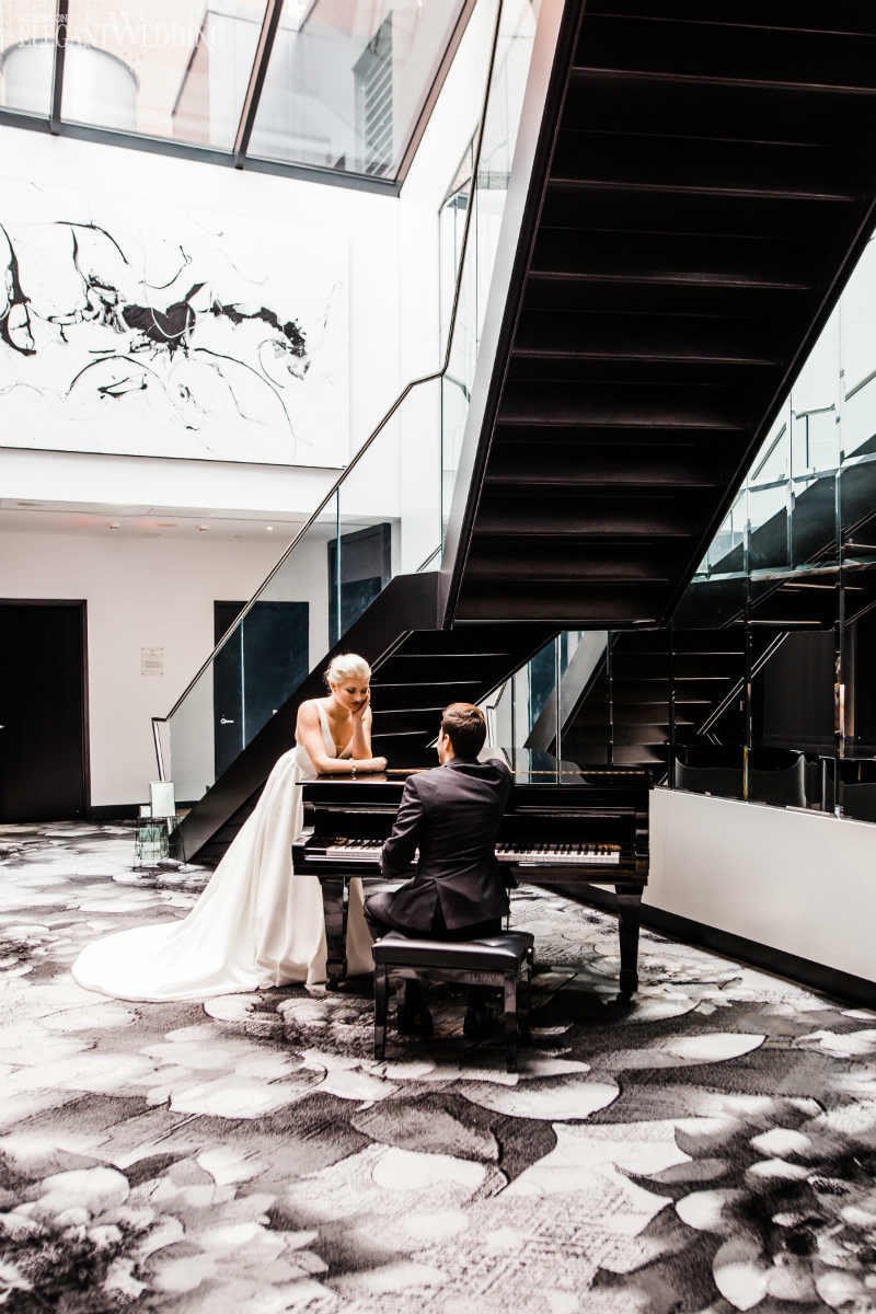 Bride and Groom by Piano