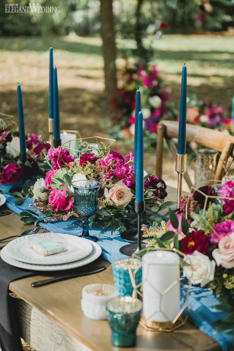 Dusty Blue Wedding Centrepieces