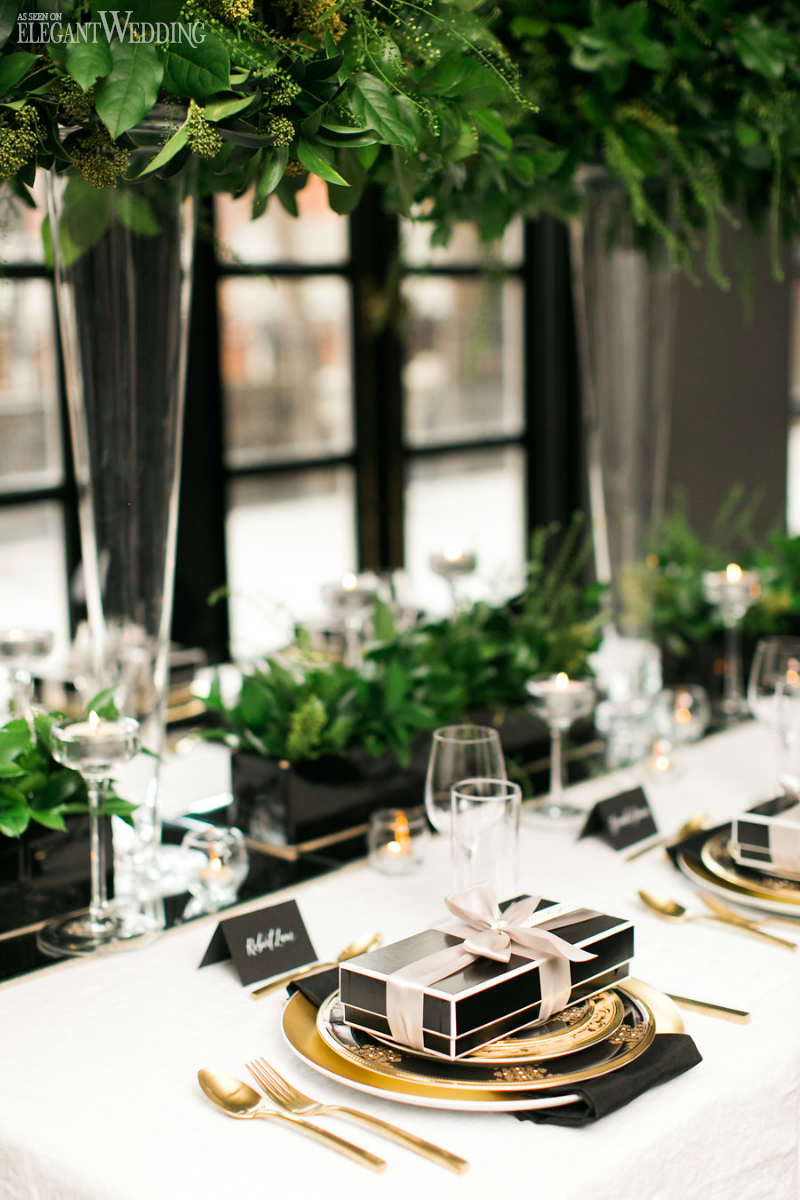 Modern Greenery Wedding Table Setting