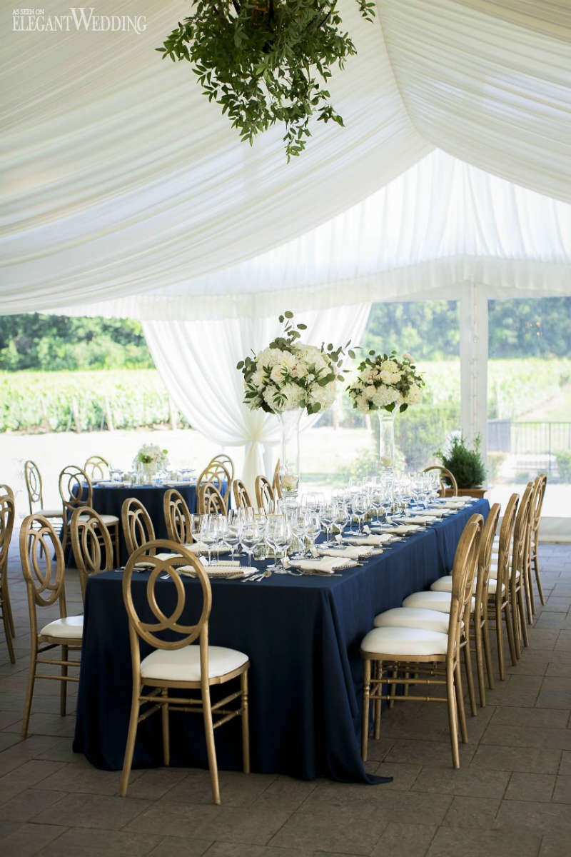 Navy and Gold Wedding Table Setting