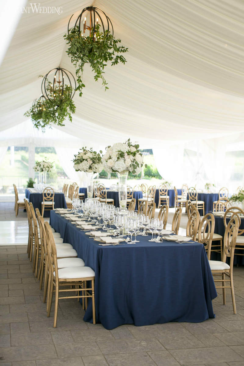 Classic Navy and Gold Tented Wedding